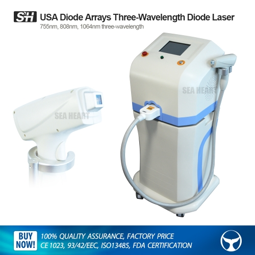 USA Diode Arrays 808nm, 755nm & 1064nm Three-wavelength 600W Diode Laser for Hair Removal & Skin Rejuvenation